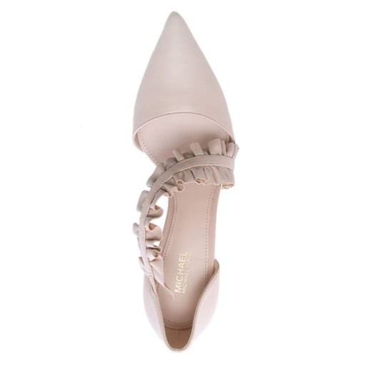MICHAEL KORS Bella Soft Pink Leather Ruffle Strap Heeled Pumps – frill trim courts