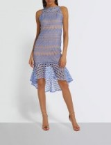 MISSGUIDED Flared-hem geometric lace mini dress – blue frilled hemline dresses