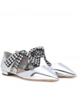 MIU MIU Metallic leather ballerinas / black and white gingham ties