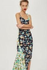 Topshop Mixed Pansy Ruffle Slip Dress | draped cami dresses