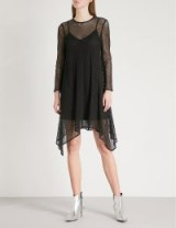 MO&CO. Black Handkerchief-hem mesh dress – asymmetric sheer overlay party dresses
