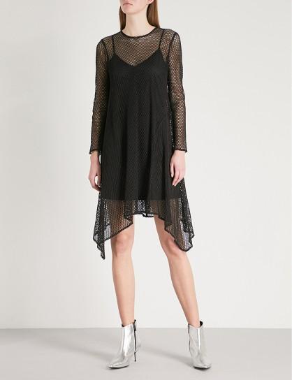 MO&CO. Black Handkerchief-hem mesh dress – asymmetric sheer overlay party dresses