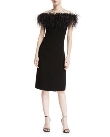 Monique Lhuillier Stretch-Crepe Illusion Sheath Dress w/ Feather Trim ~ chic cocktail dresses ~ French style evening dresses