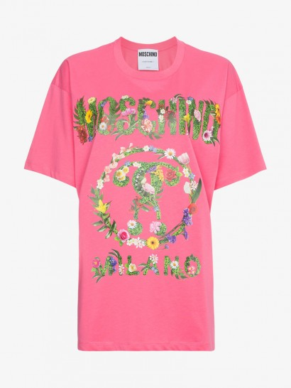 Moschino Pink Oversized Floral Logo Print Cotton T Shirt