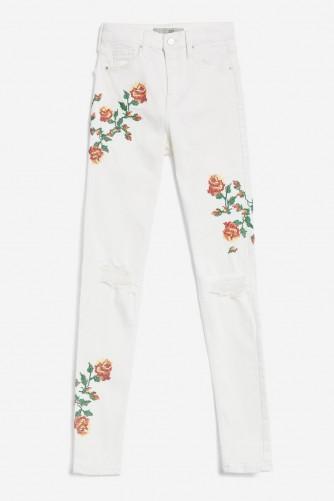 MOTO Embroidered Jamie Jeans / white floral denim