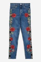MOTO Floral PEACE Logo Stripe Jamie Jeans | printed denim