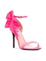 MSGM ruffled stiletto sandals / pink ruffled heels