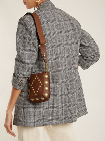 ISABEL MARANT Nasko stud-embellished brown leather cross-body bag / small studded crossbody bags