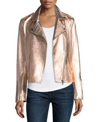 Neiman Marcus Leather Collection Zip-Front Metallic Leather Moto Jacket. ROSE GOLD BIKER JACKETS