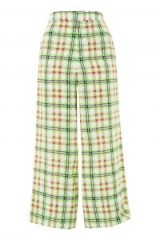 TOPSHOP Boutique Neon Checked Pyjama Trousers / green check print cropped pants