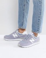 New Balance 574 Suede Trainers In Lilac – light purple sneakers