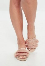 MISSGUIDED nude double tassle slip on sandals | fringed flats
