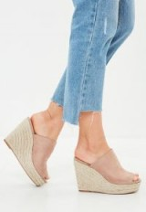 Missguided nude faux suede espadrille wedge heeled sandals | wedged peep toe mules