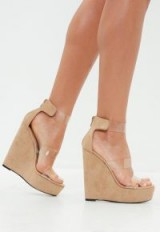 Missguided nude faux suede three strap perspex platform wedge sandals | clear straps | high strappy wedges