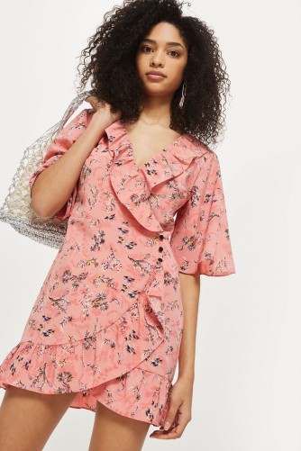 TOPSHOP Off Duty Ruffle Tea Dress – pink floral dresses – vintage style