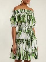 DOLCE & GABBANA Off-the-shoulder green broad-bean print cotton-blend dress ~ summer bardot dresses ~ Italian clothing