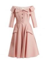 SARA BATTAGLIA Off-the-shoulder pink gingham dress / 50s vintage style fashion