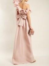 VALENTINO One-shoulder silk bow dress | pink statement gowns