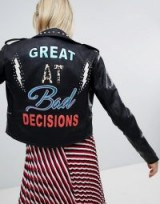 Only Leather Embroidered Look Biker Jacket With Studs ~ black slogan jackets