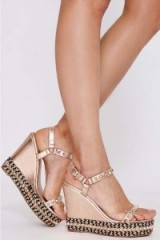 PAIDI ROSE GOLD FAUX LEATHER WEDGE HEELS | luxe style wedges