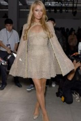Paris Hilton wearing Lanyu Crystal Cape Dress at NYFW