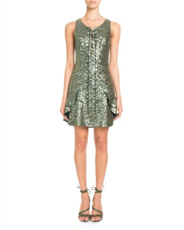 Pascal Millet Sleeveless Lace-Up Sequin Mini Cocktail Dress / green metallic ruffle trimmed party dresses / evening glamour