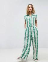 Paul & Jo Sister Retro Floral Bloom Jumpsuit   green vintage style jumpsuits