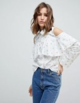 Paul & Joe Sister Ditsy Print Frill Blouse | floral cold shoulder blouses