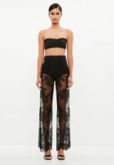 MISSGUIDED peace + love black lace flare leg trousers – sheer floral pants