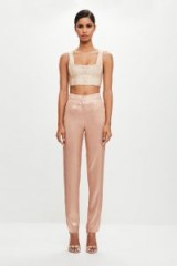 MISSGUIDED peace + love blush metallic long detail trousers – pink luxe style pants
