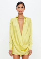 Missguided peace + love lime satin cowl mini dress | deep V-neckline party dresses