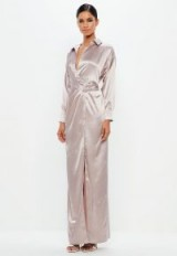peace + love mauve satin maxi dress | elegant plunge neckline party dresses