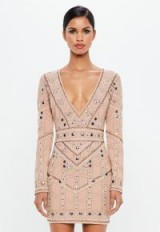peace + love nude geo embellished plunge mini dress | plunging party dresses
