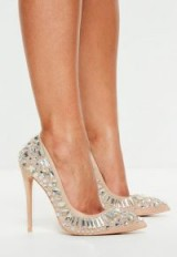 peace + love nude jewelled court heels – high crystal courts