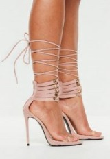 peace + love nude lace up cuff heeled sandals | party heels