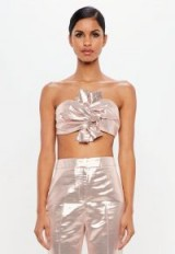 MISSGUIDED peace + love pink metallic bow detail crop top – luxe style going out tops