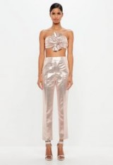 peace + love pink metallic tailored trousers – shiny crop leg pants – luxe style fashion