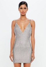 peace + love silver embellished bodycon mini dress – strappy plunge front party dresses