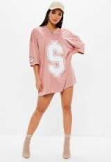 Missguided pink american football t-shirt dress – oversized tees