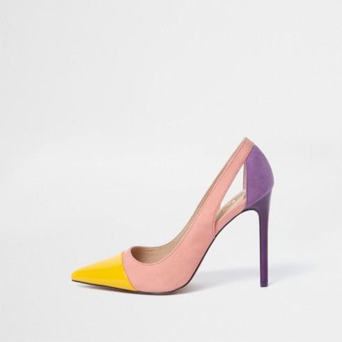 River Island Pink colour block cut out court shoes – multi-coloured courts