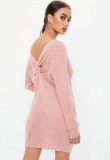 Missguided pink fluffy twist back dress | knitted sweater dresses