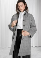 and other stories grey paid coat / grey check print coats