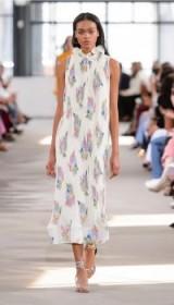 TIBI PLEATED CAMELLIA SLEEVELESS DRESS WITH REMOVABLE BELT | ivory ruffled neck dresses