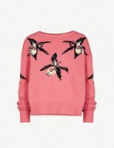 PRADA Orchid intarsia-motif cashmere jumper / pink floral sweaters / designer knitwear