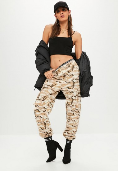 MISSGUIDED premium beige camo printed cargo trousers / camouflage pants