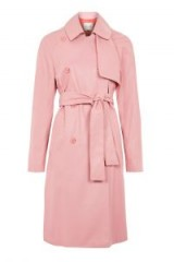 Topshop Premium Leather Trench Coat | luxe pink coats