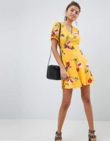 PrettyLittleThing Floral Lace Up Detail Dress – yellow fit and flare dresses
