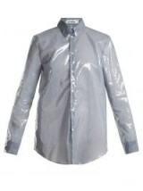JIL SANDER PU long-sleeved shirt ~ shiny blue shirts