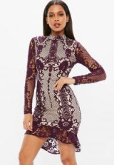 Missguided purple lace flippy hem bodycon dress