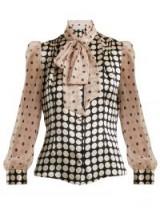 EDELTRUD HOFMANN Pussy-bow contrast-panel polka-dot silk blouse | vintage style high neck puff sleeve blouses